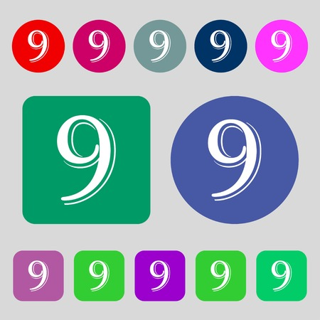 numero nueve: number Nine icon sign.12 colored buttons. Flat design. Vector illustration