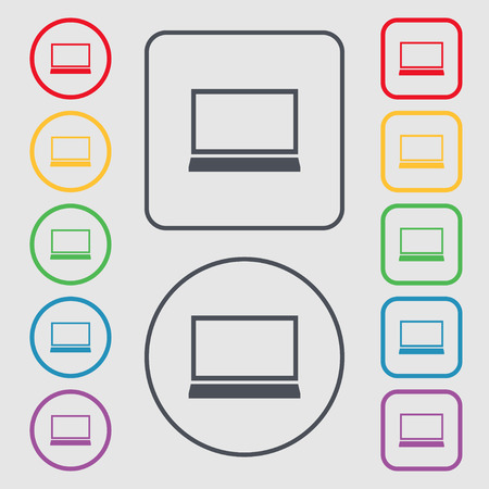 ultrabook: Laptop sign icon. Notebook pc symbol. Symbols on the Round and square buttons with frame. Vector illustration