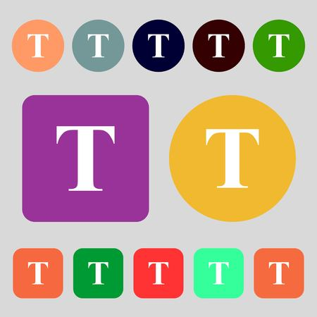 t document: Text edit icon sign.12 colored buttons. Flat design. Vector illustration