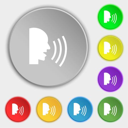 loudly: Talking Flat modern web icon. Symbols on eight flat buttons. Vector illustration