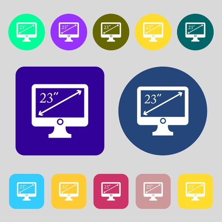 widescreen: diagonal of the monitor 23 inches icon sign.12 colored buttons. Flat design. Vector illustration Illustration