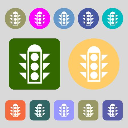 light signal: Traffic light signal icon sign.12 colored buttons. Flat design. Vector illustration