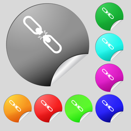 interlink: Broken connection flat single icon. Set of eight multi colored round buttons, stickers. Vector illustration Illustration