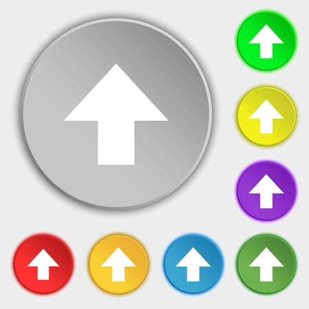 this side up: This side up sign icon. Fragile package symbol. Symbols on eight flat buttons. Vector illustration