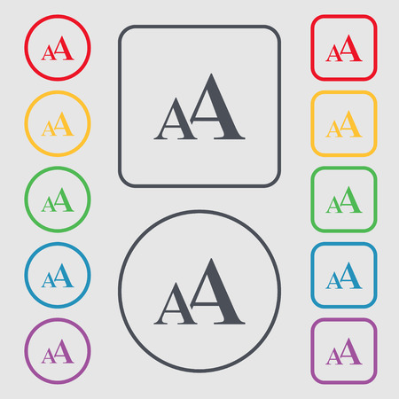 aa: Enlarge font, AA icon sign. Symbols on the Round and square buttons with frame. Vector illustration