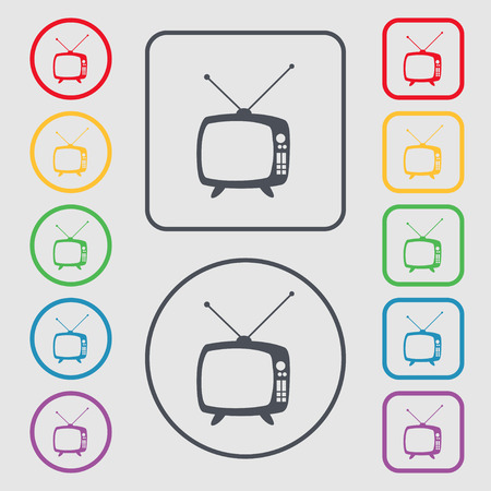 Retro TV mode sign icon. Television set symbol. Symbols on the Round and square buttons with frame. Vector illustration