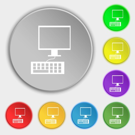 input device: Computer monitor and keyboard Icon. Symbols on eight flat buttons. Vector illustration Illustration