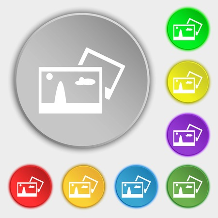compression: Copy File JPG sign icon. Download image file symbol. Symbols on eight flat buttons. Vector illustration