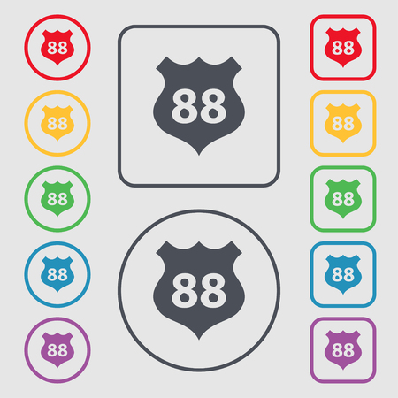 highway sign: Route 88 highway icon sign. Symbols on the Round and square buttons with frame. Vector illustration
