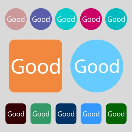 goed teken: Good sign icon.12 colored buttons. Flat design. Vector illustration