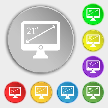 inches: diagonal of the monitor 21 inches icon sign. Symbols on eight flat buttons. Vector illustration