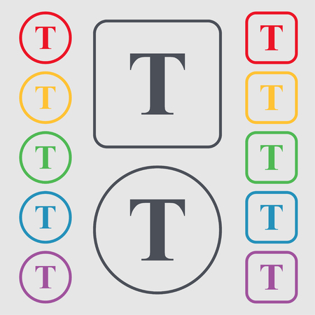 t document: Text edit icon sign. Symbols on the Round and square buttons with frame. Vector illustration