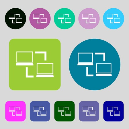data synchronization: Synchronization sign icon. Notebooks sync symbol. Data exchange.12 colored buttons. Flat design. Vector illustration