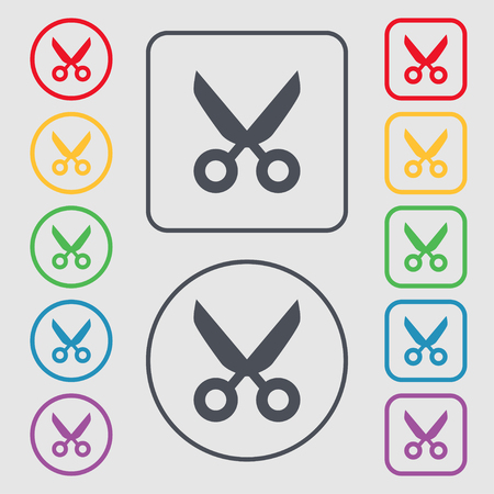 ciach: Scissors hairdresser sign icon. Tailor symbol. Symbols on the Round and square buttons with frame. Vector illustration