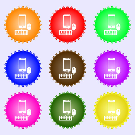 keyboard and mouse: smartphone widescreen monitor, keyboard, mouse sign icon. A set of nine different colored labels. Vector illustration