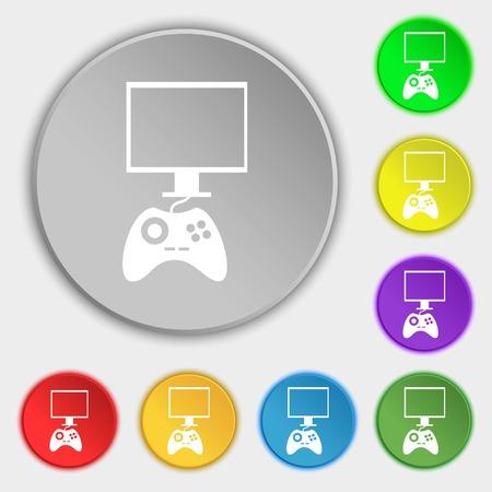 Joystick And Monitor Sign Icon Video Game Symbol Symbols On