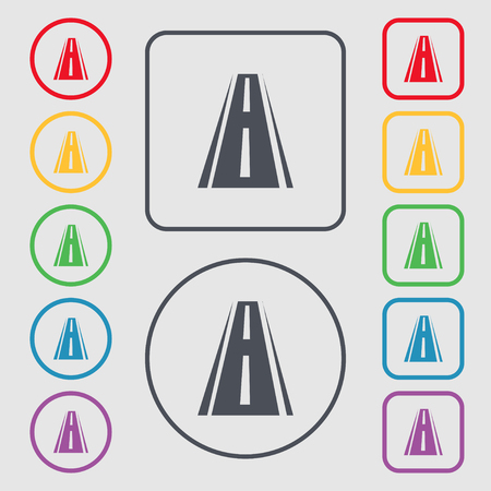 bitumen: Road icon sign. Symbols on the Round and square buttons with frame. Vector illustration