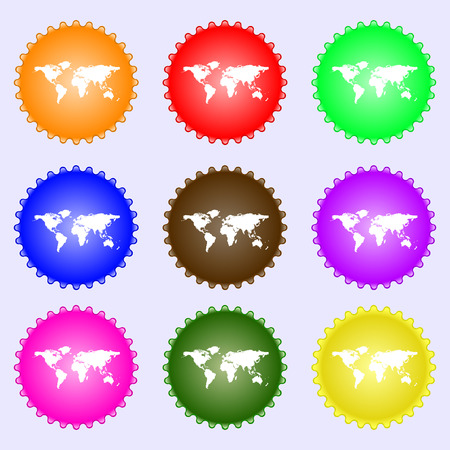 geography: Globe sign icon. World map geography symbol. A set of nine different colored labels. Vector illustration