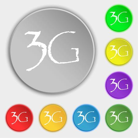 3g: 3G sign icon. Mobile telecommunications technology symbol. Symbols on eight flat buttons. Vector illustration Illustration