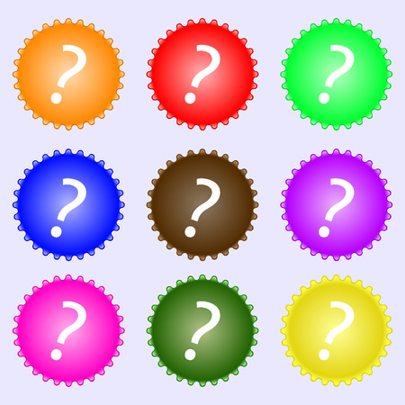 help symbol: Question mark sign icon. Help symbol. FAQ sign. A set of nine different colored labels. Vector illustration