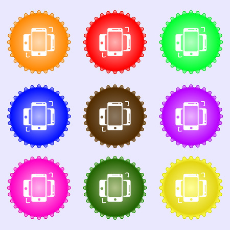 in sync: Synchronization sign icon. smartphones sync symbol. Data exchange. A set of nine different colored labels. Vector illustration