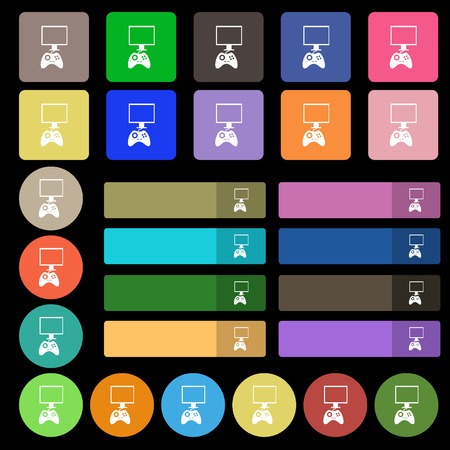 token: Joystick and monitor sign icon. Video game symbol. Set from twenty seven multicolored flat buttons. Vector illustration