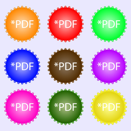 pdf: PDF file document icon. Download pdf button. PDF file extension symbol. A set of nine different colored labels. Vector illustration Illustration