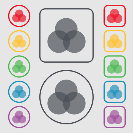intersect: Color scheme icon sign. Symbols on the Round and square buttons with frame. Vector illustration