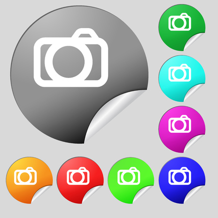 digital camera: Photo camera sign icon. Digital photo camera symbol. Set of eight multi colored round buttons, stickers. Vector illustration