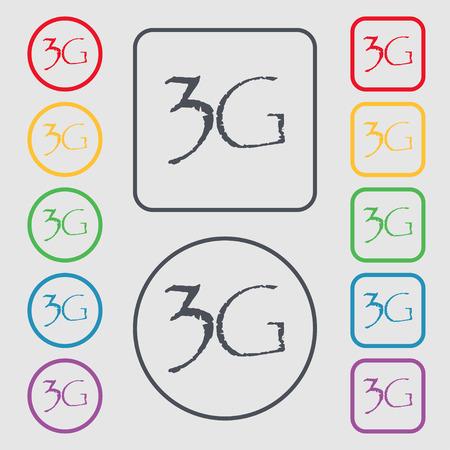 3g: Icono de signo 3G. Telecomunicaciones m�viles s�mbolo tecnolog�a. S�mbolos en el botones cuadrados con Marco redondo y. Ilustraci�n vectorial