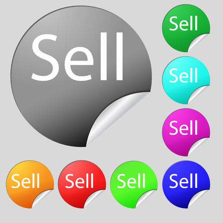 contributor: Sell sign icon. Contributor earnings button. Set of eight multi colored round buttons, stickers. Vector illustration