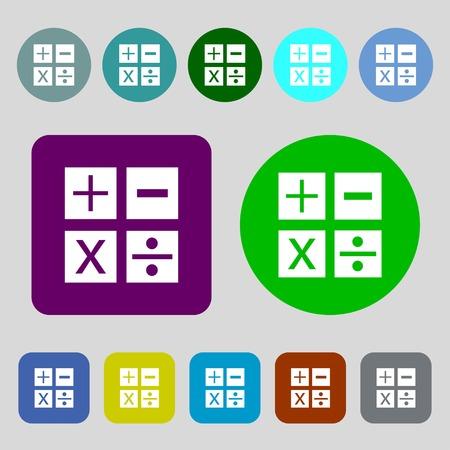 multiplicacion: Multiplicaci�n, divisi�n, m�s, menos icono Matem�ticas s�mbolo Mathematics.12 botones de colores. Dise�o plano. Ilustraci�n vectorial Vectores