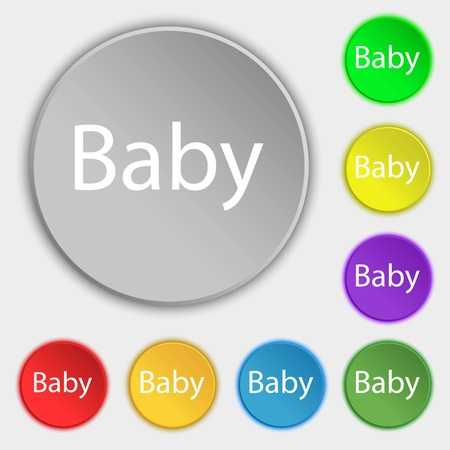 bebe a bordo: Baby on board sign icon. Infant in car caution symbol. Baby pacifier nipple. Symbols on eight flat buttons. Vector illustration Vectores