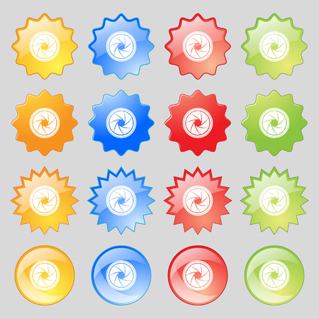 diaframma: diaphragm icon. Aperture sign. Big set of 16 colorful modern buttons for your design. Vector illustration Vettoriali