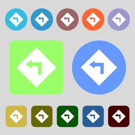 dangerous: Road sign warning of dangerous left curve icon sign.12 colored buttons. Flat design. Vector illustration