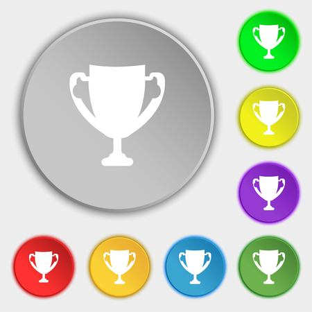 awarding: Winner cup sign icon. Awarding of winners symbol. Trophy. Symbols on eight flat buttons. Vector illustration