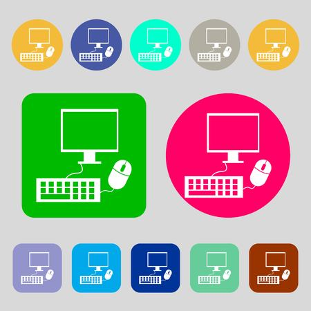 keyboard and mouse: Computer widescreen monitor, keyboard, mouse sign icon.12 colored buttons. Flat design. Vector illustration