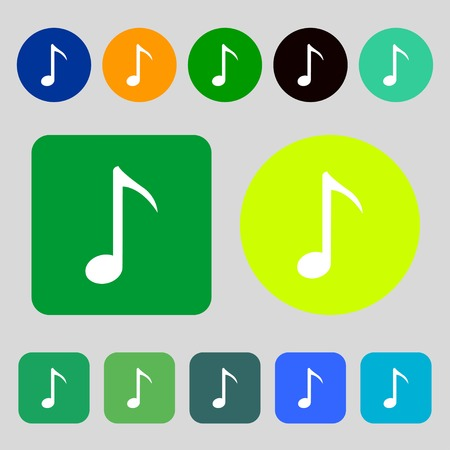 sign simplicity: Music note icon sign.12 colored buttons. Flat design. Vector illustration