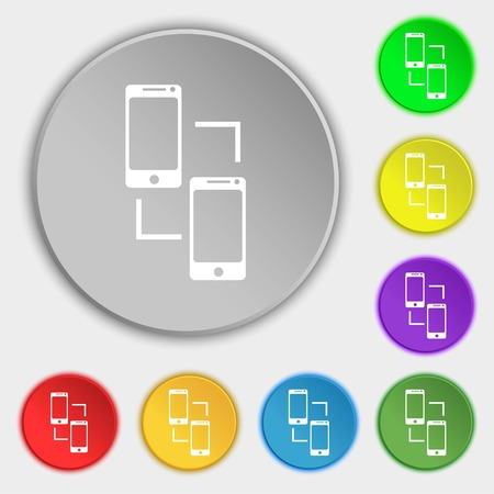 data synchronization: Synchronization sign icon. communicators sync symbol. Data exchange. Symbols on eight flat buttons. Vector illustration