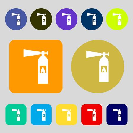 flammability: fire extinguisher icon sign.12 colored buttons. Flat design. Vector illustration