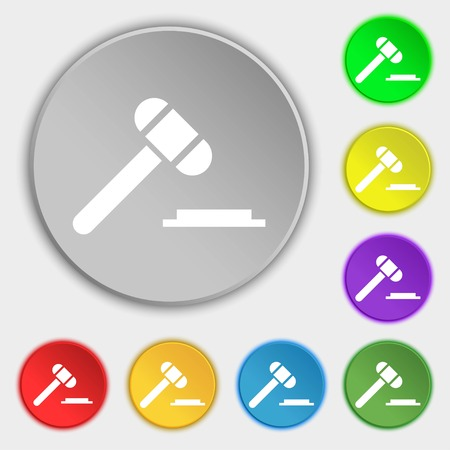 arbitrate: judge hammer icon. Symbols on eight flat buttons. Vector illustration