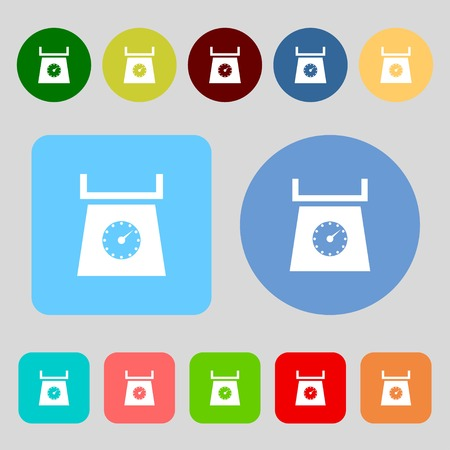 grams: kitchen scales icon sign.12 colored buttons. Flat design. Vector illustration