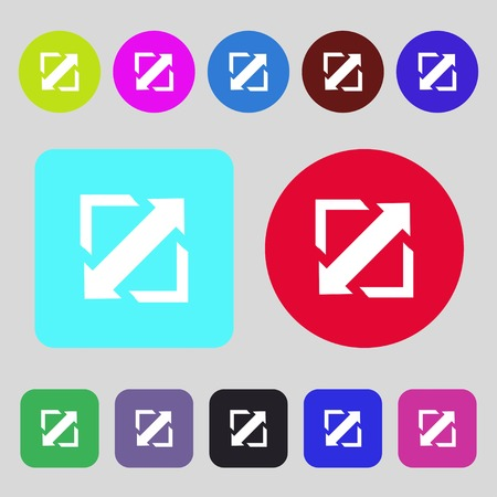 wider: Deploying video, screen size icon sign.12 colored buttons. Flat design. Vector illustration