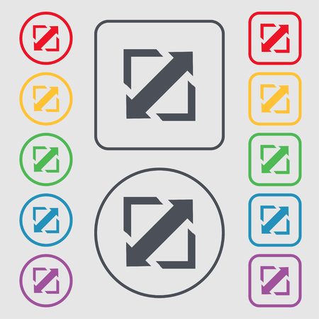 screen size: Deploying video, screen size icon sign. Symbols on the Round and square buttons with frame. Vector illustration Illustration