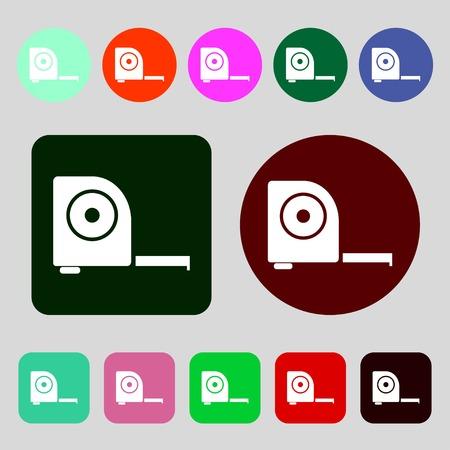 cintas metricas: Ruleta icono de la construcci�n sign.12 botones de colores. Dise�o plano. ilustraci�n vectorial