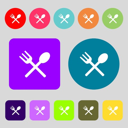 crosswise: Fork and spoon crosswise, Cutlery, Eat icon sign.12 colored buttons. Flat design. Vector illustration