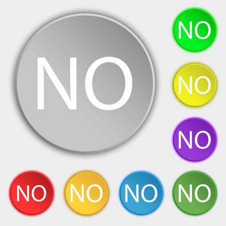 translation: Norwegian language sign icon. NO Norway translation symbol. Symbols on eight flat buttons. Vector illustration Illustration
