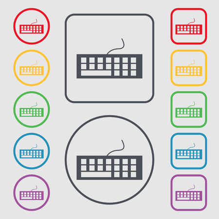 input device: Computer keyboard Icon. Symbols on the Round and square buttons with frame. Vector illustration Illustration