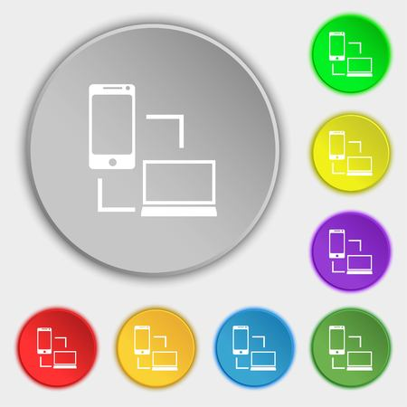in sync: Synchronization sign icon. communicators sync symbol. Data exchange. Symbols on eight flat buttons. Vector illustration