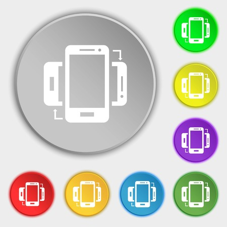 sync: Synchronization sign icon. smartphones sync symbol. Data exchange. Symbols on eight flat buttons. Vector illustration